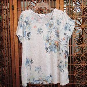 Rebecca Malone floral print blouse w/rhinestones
